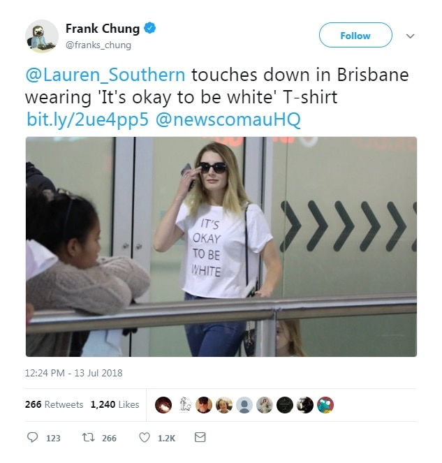 An image of Lauren Southern at Brisbane Airport, via Frank Chung.