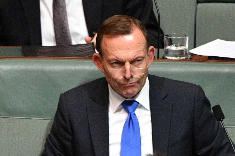 Former prime minister Tony Abbott during Question Time in the House of Representatives at Parliament House in Canberra, Thursday, June 28, 2018.